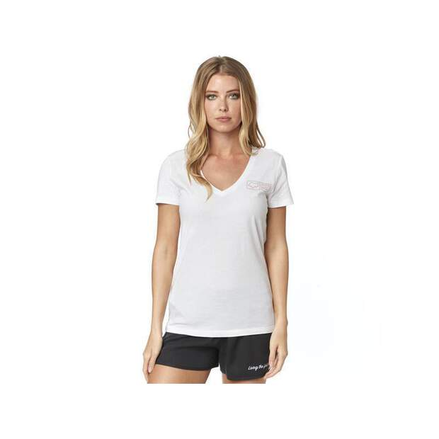 Fox T-Shirt Tracker Ss V Neck [Wht]