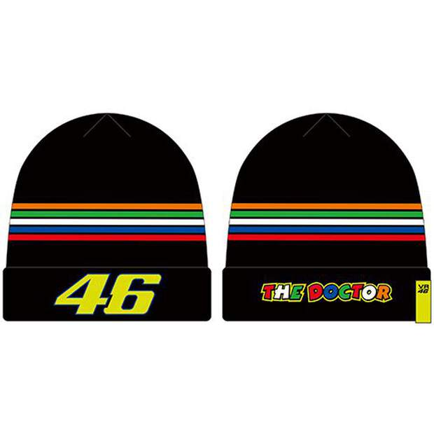 VR46-(VRMBE305104)-Beanie-Rossi-Black-Stripes